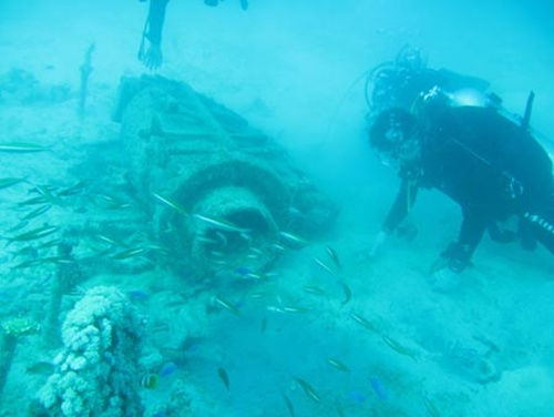 Một nhà khảo cổ học xem xét xác một chiếc tàu đắm ở biển Đông. Ảnh:Xinhua