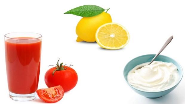 làn da trắng đẹp nhờ cà chua, chanh và sữa chua