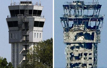 Tháp kiểm soát tại sân bay trước và sau khi bị tàn phá bởi chiến sự.