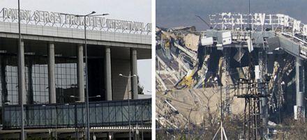 Nhà ga chính của sân bay đã bị phá hủy.