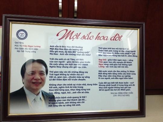 Món quà đặc biệt một bệnh nhân gửi tặng PGS Trần Ngọc Lương