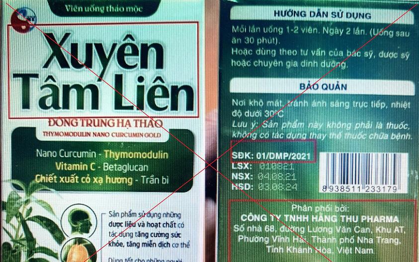 Cục An toàn thực phẩm chuyển tin về sản phẩm Xuyên Tâm Liên giả mạo đến cơ quan điều tra Khánh Hoà