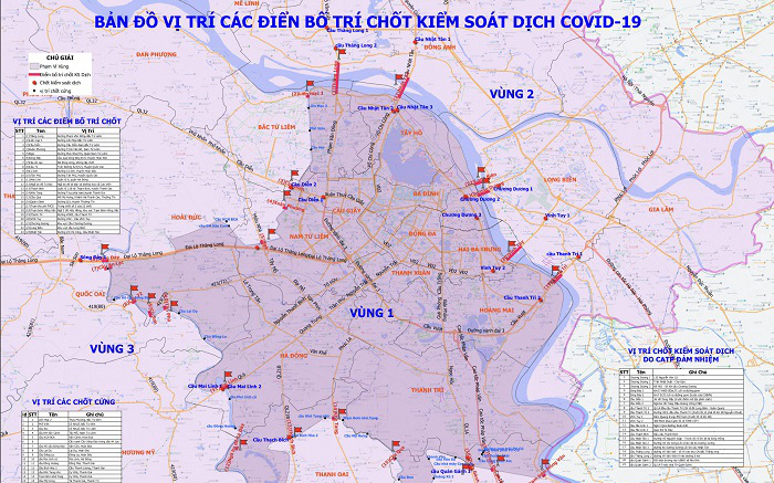 Hà Nội công bố chi tiết việc lưu thông qua các vùng phòng, chống dịch COVID-19