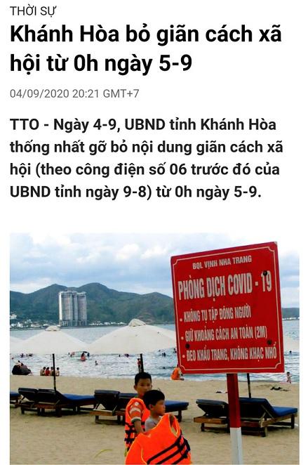 """Mạng xã hội lan truyền tin cũ """"Khánh Hòa bỏ giãn cách xã hội từ 0h ngày 5-9"""" - Ảnh 2."""