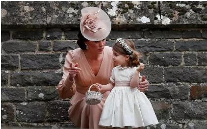 Công nương Catherine và con gái Charlotte tới dự đám cưới của em gái Pippa