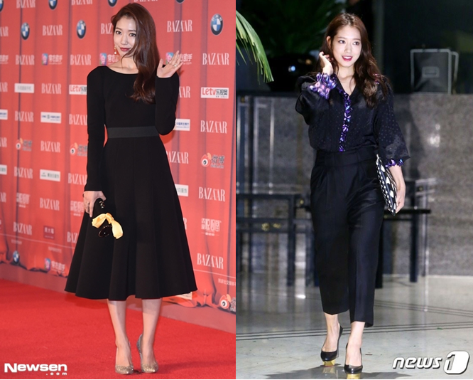 Park Shin Hye lịch lãm trong bộ đồ màu đen