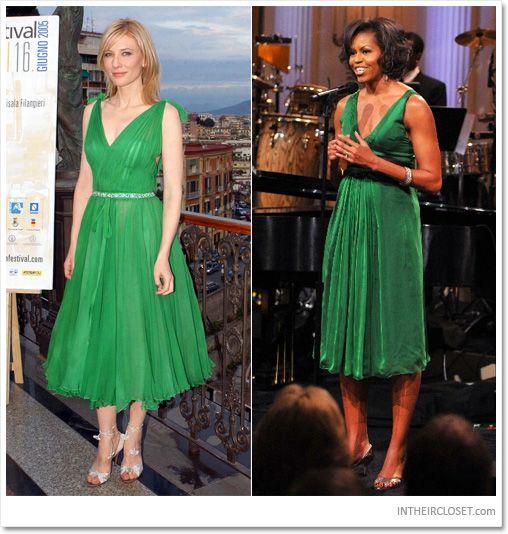 Kate Blanchet và Michelle Obama diện váy xanh lá trẻ trung