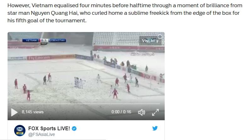 Fox Sports ca ngợi cú sút tuyệt đẹp của Quang Hải