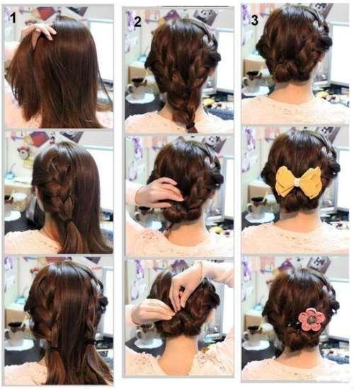 Kiểu tóc Hy lạp tết tóc to thành vòng ở phía sau gáy và dùng nơ quấn lại