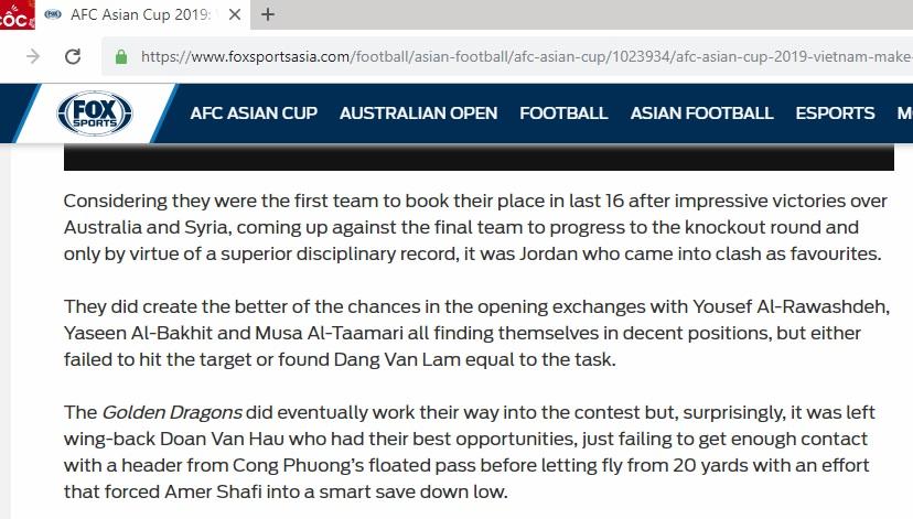 Fox Sports Asia gọi đội Việt Nam là Golden Dragons (Những chú rồng vàng)