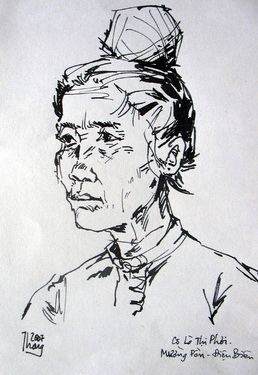 Chân dung noọng Phơi qua phác họa của họa sĩ Thanh Tâm trong một lần ông trở lại Mường Pồn.