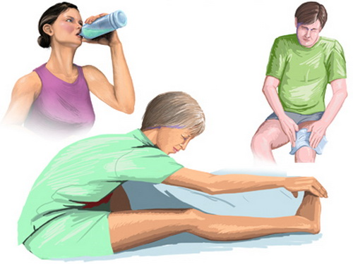 Chườm nóng, kéo giãn cơ, bù đủ nước giúp giảm chứng chuột rút.