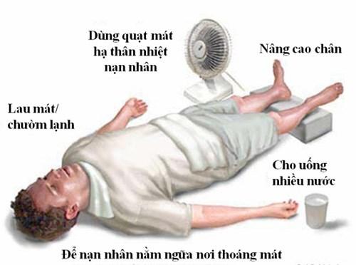 Các bước sơ cứu người bị say nóng, say nắng.