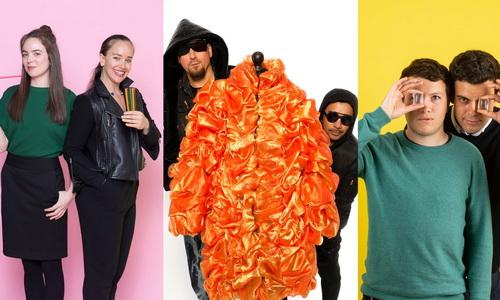 Trái sang: Cặp đôi Briganti- Tucker với ống hút ăn được; Vin - Omi với thời trang làm từ nhựa tái chế; và chai nước ăn được Ooho của SRL.
