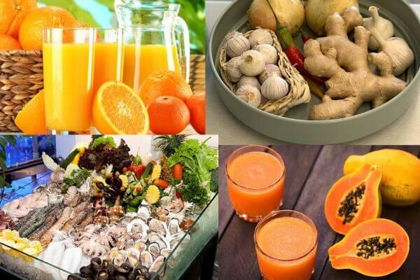 Nên thường xuyên ăn các loại thực phẩm tăng sức đề kháng.