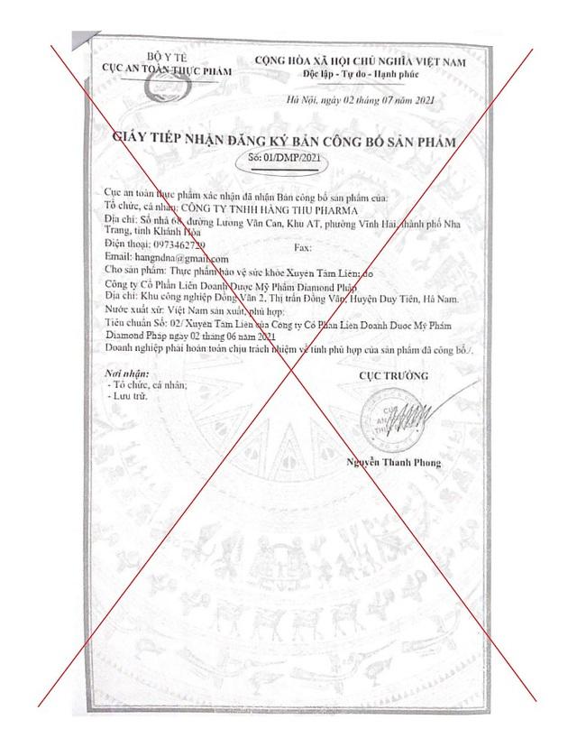 Cục An toàn thực phẩm chuyển tin về TPBVSK Xuyên Tâm Liên giả mạo đến cơ quan điều tra Khánh Hoà - Ảnh 2.