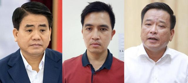 Các bị can Nguyễn Đức Chung (trái), Nguyễn Trường Giang (giữa) và Võ Tiến Hùng.