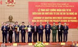 Thủ tướng Chính phủ dự lễ trao Giấy chứng nhận, Biên bản ghi nhớ đầu tư các dự án tại Nghệ An