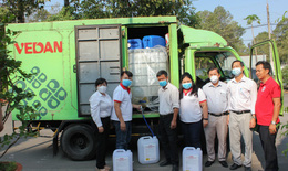 Công ty Vedan Việt Nam tài trợ 3.200 lít Javen khử trùng phòng chống dịch bệnh COVID-19 tại các trường học