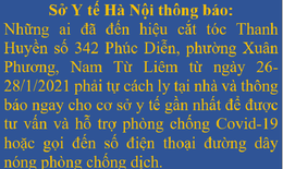 Hà Nội: Tìm người đến hiệu cắt tóc Thanh Huyền ở Nam Từ Liêm