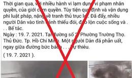 Phản hồi thông tin sai sự thật về việc người dân bức xúc tự thiêu tại phường Trường Thọ