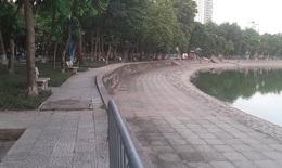 Hà Nội vắng người tập thể dục bên hồ