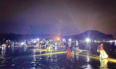 Ngư dân Nghệ An xuyên đêm vớt 'lộc trời' sau mưa bão