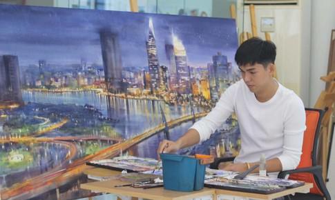 Họa sĩ trẻ vẽ tranh về các thành phố của Việt Nam